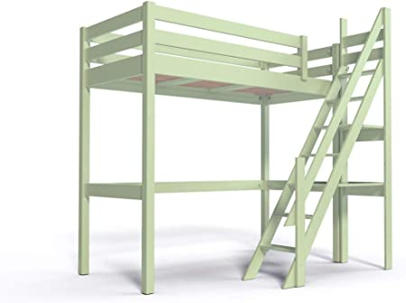 ABC MEUBLES - Cama Alta Sylvia con Escalera empinada - 1130 - Verde Pastel, 90x200: Amazon.es: Hogar