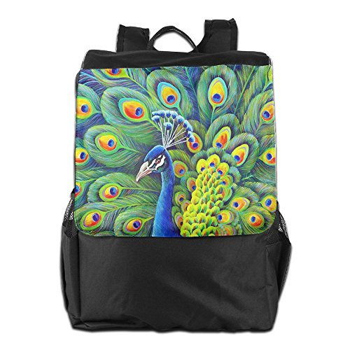 HSVCUY Personalized Outdoors Backpack,Travel/Camping/School-Beautiful Peacock Adjustable Shoulder Strap Storage Dayback for Women and Men