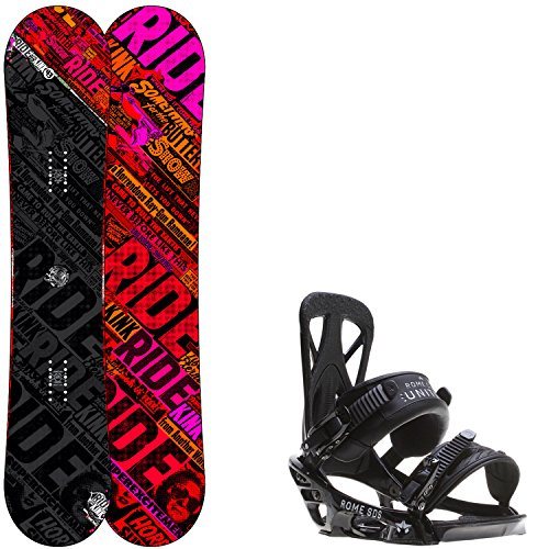 Ride Kink 143 Mens Snowboard + Rome United Bindings - Fits US Mens Boots Sizes: 7,8,9,10 (Mens Rome Snowboard Package compare prices)