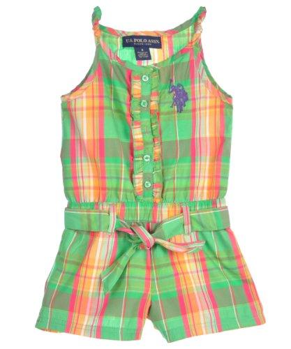 UPC 845649329798, US Polo Assn Girls Lime Green Ozward Plaid Printed Romper (4)