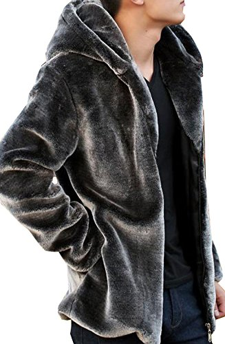 S&S Men's Fashion Solid Winter Warm Thick Outerwear Hooded Zipper Faux Mink Fur Coat