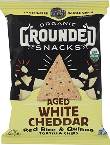 Lundberg Family Farms Organic Grounded Snacks Aged White Cheddar Red Rice & Quinoa Tortilla Chips,... (Rice Cakes White Cheddar)