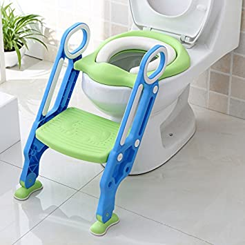 Foldable Padded Potty Trainer Toddler Toilet Training Seat with Non-Slip Ladder