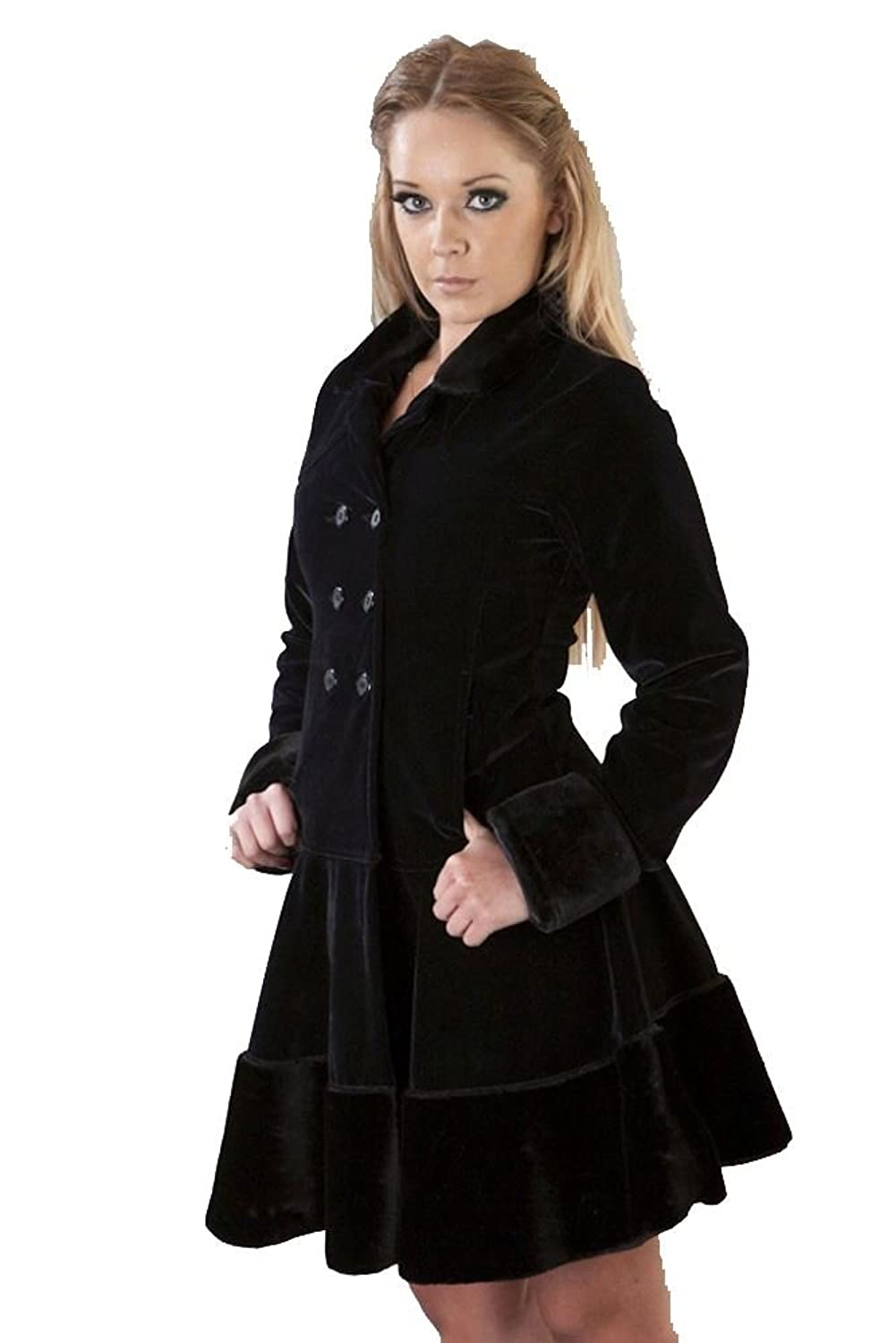 Victorian Clothing, Costumes & 1800s Fashion Dark womens coat in black velvet flock and black fur by Burleska $139.95 AT vintagedancer.com