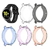 Compatible with Samsung Galaxy Watch Active 2 Case 44mm SM-R820 Flexible TPU Case Protector Cover Protective Case (Orange/Blue/Purple/Black/Clear)