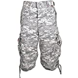 Mens Knee Hugger Cargo Shorts 45056-100% Cotton Premium Longer Durable Cargos, Small Digital Universal Camo