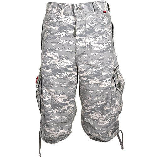 Mens Knee Hugger Cargo Shorts 45056-100% Cotton Premium Longer Durable Cargos, Small Digital Universal Camo by Molecule