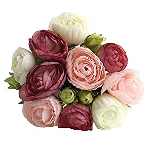 simoce Artificial Flowers 10 Heads Persian Buttercup Crowfoot Ranunculus Wedding Bride Hand Tied Bouquet Home Decoration Silk-Like Lustring Fake Décor Flowers. 7.9H x 6.3W inches.(Rose-Pink) 14