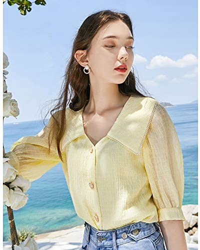 Summer New Doll Collar Single-Breasted Bubble Crepe Middle Sleeve Straight Shirt Top for Women