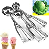 Scott ALlah Design – 3 Pcs Stainless Steel Spring Handle Ice Cream Scoop Spoon Mashed Potato Cookie