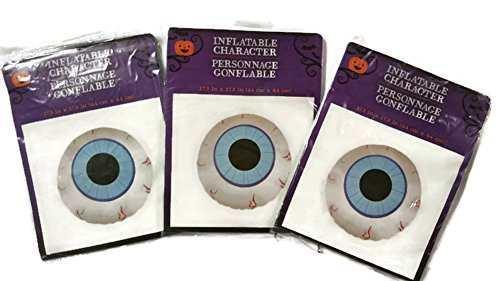 Inflatable floating eyeballs for halloween decor, pool party and Halloween bathtub toy play-Set of 3, 17.3 inches