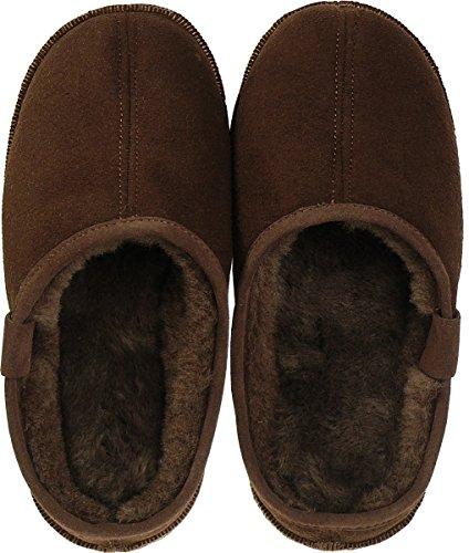 Harrys-Collection Extra Dicke Lammfell Pantoffeln mit Ledersohle für Damen und Herren Braun
