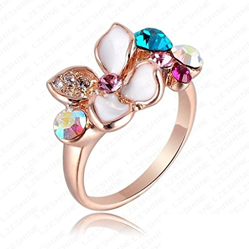 Bishilin 18K Gold Plated Fashion Womens Ring 18K Rose Gold Plate White Enamel Flower Size 9