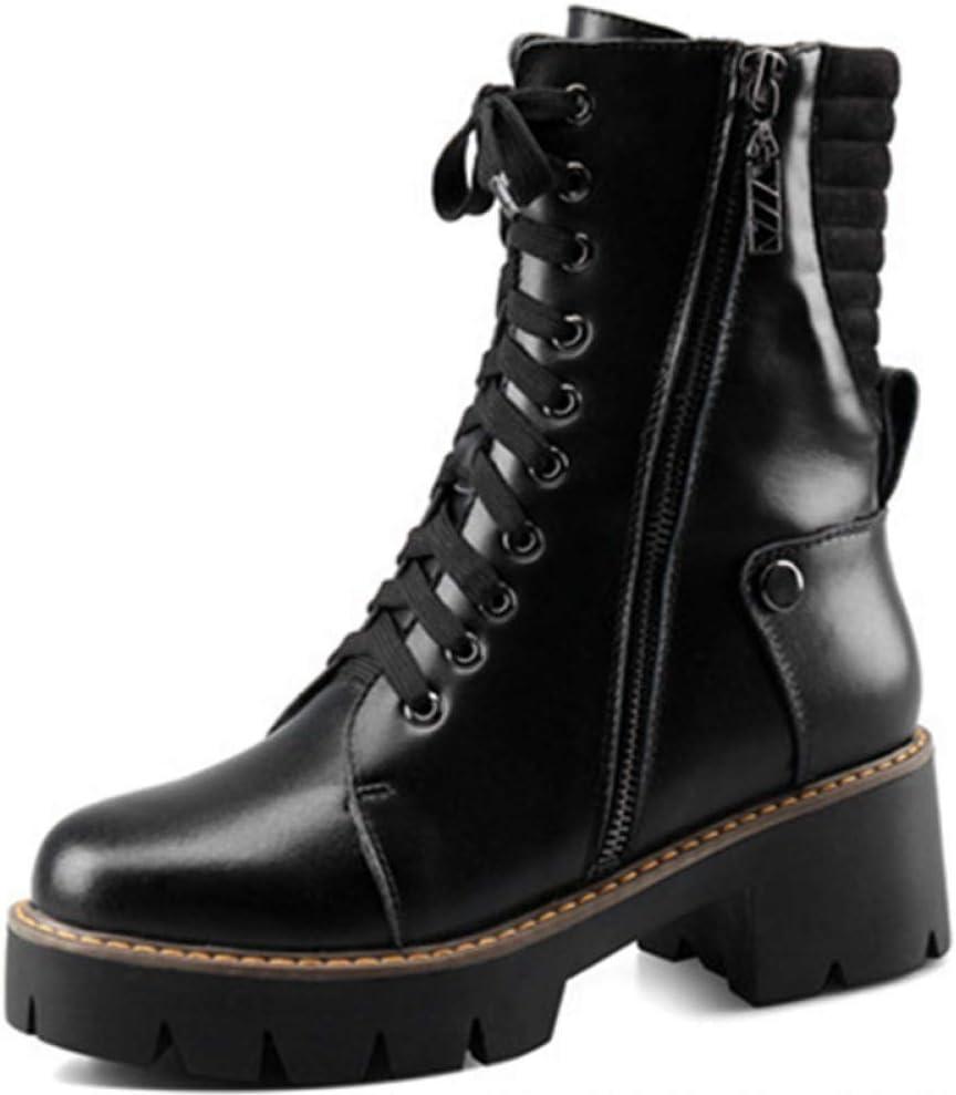 GRHWTAS Tamaño Grande 34-43 Botas para Mujer Zapatos de Moda Botines para Mujer Zapatos de Plataforma Botas de Cuero Genuino Cremallera Negra
