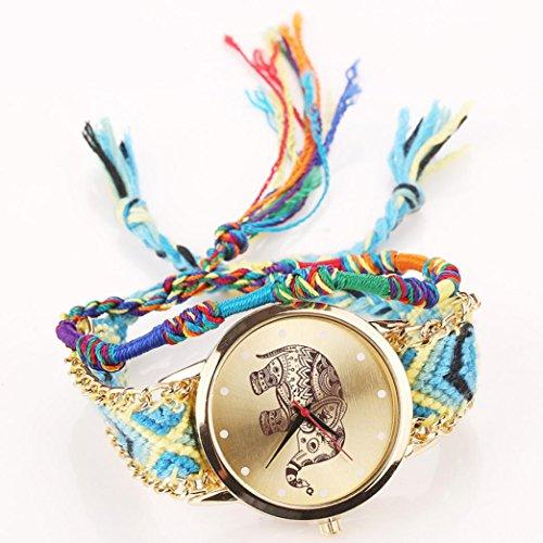 Celendi_ Jewerly New Handmade Woven Bangles Vintage Quartz Watch Print Elephant Graphic Watches