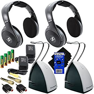"Sennheiser RS120 On-Ear Wireless RF Headphones with Charging Dock (2 Pack) + 4 AAA Ni-MH Rechargeable Batteries + 2 1/4"" Adapters + 2 RCA to Mini Plug Adapters + 2 AC Power Supplies + 2 HeroFiber Ultra Gentle Cleaning Cloths"