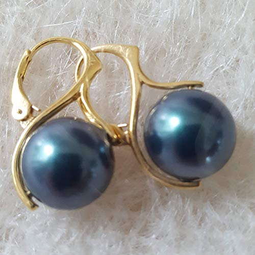 Iridescent Tahitian Pearl Earrings on 24 K gold Vermeil on Sterling Silver Leverbacks made with 12 mm Swarovski Tahitian Simulated Pearls Made in the USA