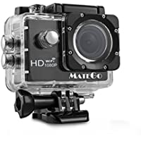 Matego Sports Action Camera WiFi Wireless Waterproof Camera 1080P Video Resolution 12MP Photo Resolution 1.5 Inch Screen 150 Degree Wide-angle Lens