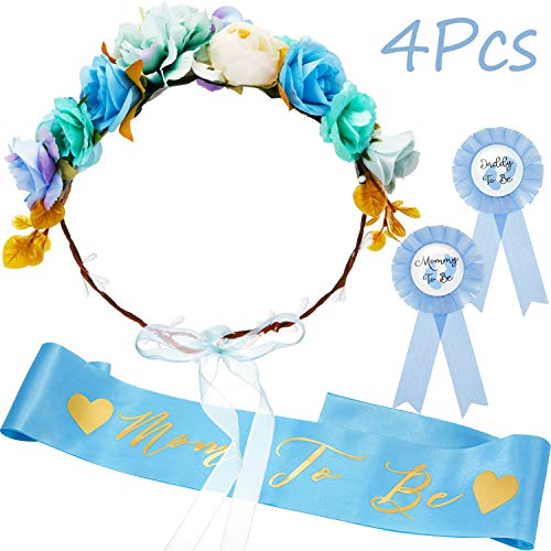 Baby Shower Sash,Mom to be Sash and Pin with Floral Crown for Mom and Dad Kit for Baby Shower Party Favors Decorations(Blue)