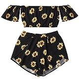ShenPr Women's Cold Shoulder Chiffon Boho Sunflower Printed Flare Half Sleeve Mini Top Vest And Shorts Set (Black, M)