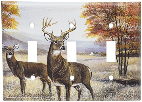 Art Plates - White Tail Deer Switch Plate - Triple Toggle