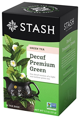 Stash Tea Decaf Premium Green Tea, 100 Count Box of Tea Bags Individually Wrapped in Foil (packaging may vary), Decaffeinated Green Tea, Japanese Style Green Tea, Drink Hot or Iced