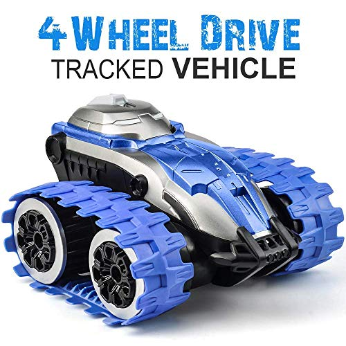 Remote Control Car for Kids  RC Car for Boys Toy Tracked Vehicle Wheelie 360° Spin 2.4GHz 4WD Dual Motors Rechargeable Electric RC Toy Car Tank Blue