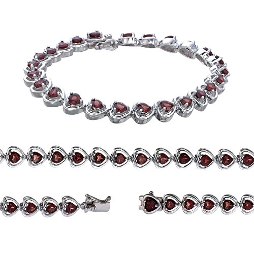 Sterling Silver Garnet Bracelet (5 -