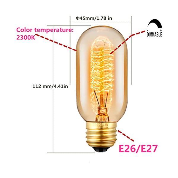Edison Light Bulbs, 40Watt Antique Vintage Light Bulbs, Dimmable, E27/E26 Base, Warm White, 110v - 130v, T45 Tube Shape… 5