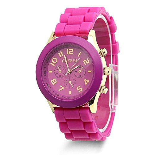 HeroNeo Classic Womens Girls Geneva Silicone Jelly Gel Quartz Analog Sports Wrist Watch (Hot Pink)