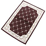 KEYAMA 71″x47″ Indoor Brown Grid Acrylic Non-slip Jacquard parlor area rugs Classical doormats Stair corner matching landing area rugs Kitchen and stair treads decorative rugs For Sale