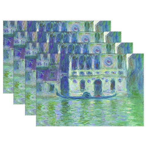 (WIHVE Placemats Set of 6, Monet's Dario Palace Venice Holiday Non Slip Heat-Resistant Washable Polyester Table Place Mats for Kitchen Dining Table, 12