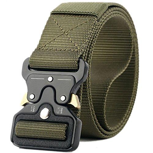 Valpeak Military Tactical Belt Quick Release Buckle Nylon Gun Belt for Concealed Carry Heavy Duty Holster, 1.5 inch Web Cobra Men (Green, XL)