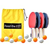 Feed the Fit Ping Pong Paddle Set - Professional 4-Player Table Tennis Racket Bundle with 12 Balls and Carrying Case, Perfect Grip and Control - Great Outdoor Activity for Family, Kids and Friends