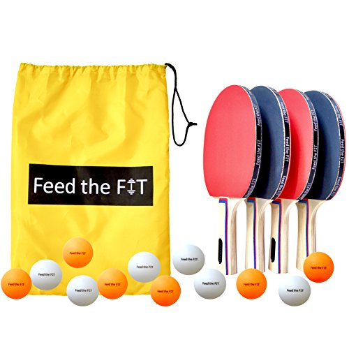 Modern Style Ball Set (Feed the Fit Ping Pong Paddle Set - Professional 4-Player Table Tennis Racket Bundle with 12 Balls and Carrying Case, Perfect Grip and Control - Great Outdoor Activity for Family, Kids and Friends)