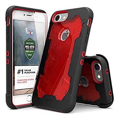 iPhone 7 Case Zizo Proton Cover [Military Grade Drop Tested] with FREE 0.3m 9H [Tempered Glass Screen Protector] Kickstand Holster Belt Clip