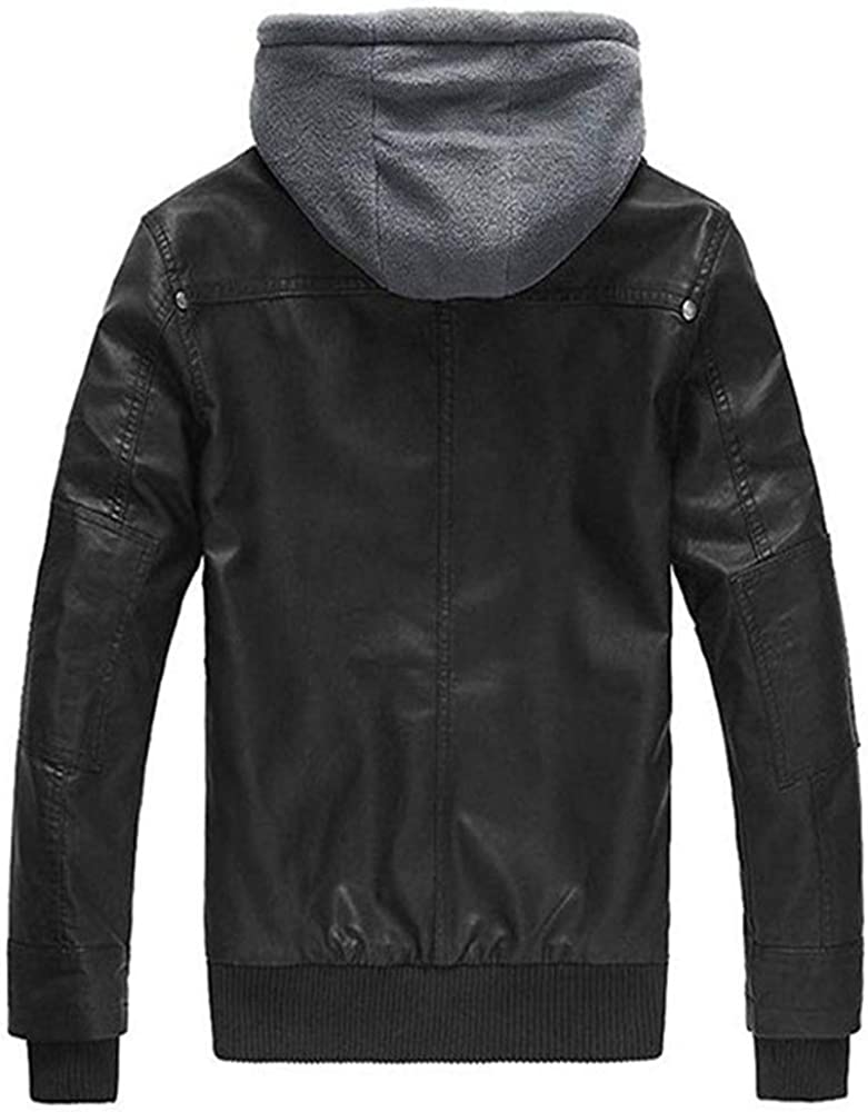 Men/'s Faux Leather Jacket with Removable Hood