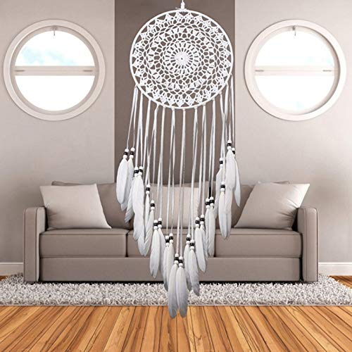 BBB&LIU Dream Catcher Home Decor White Feather Dreamcatcher Wind Chimes Indian Style Religious Mascot Car Wall Decoration,White