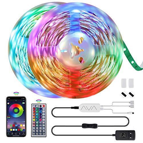 Morfone LED Strip 12M LED Streifen 5050 RGB, APP-Steuerung Bluetooth Musikalische Lichtband mit 44 Tasten Fernbedienung, 360 Leds 12V Netzteil LED Band für TV, Haus, Party, Bar Dekoration (2x6M)