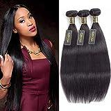 QTHAIR 10A Straight Human Hair Bundles Indian Straight Hair(12 14 16,300g,Natural Black) 100% Unprocessed Indian Straight Virgin Human Hair Bundles