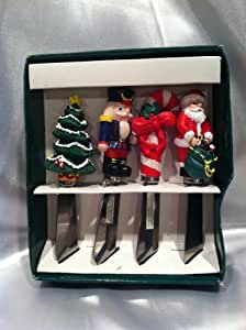 Boston Warehouse Cheese Spreaders Set of 4 Christmas Santa Claus Tree Candy Cane Nutcracker