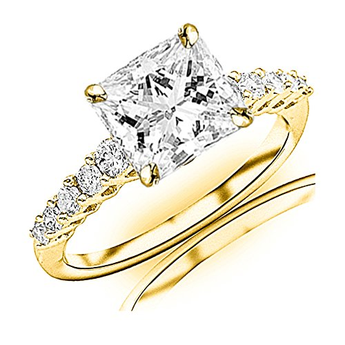 1.2 Carat t.w. GIA Certified Princess Cut 14K Yellow Gold Classic Prong Set Side Stone Diamond Engagement Ring (I-J Color SI1-SI2 Clarity Center Stones)