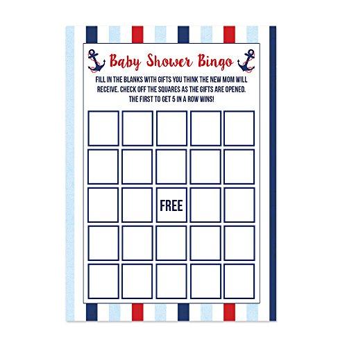 Nautical Baby Shower Bingo Cards 20 (Summer Baby Shower Themes)