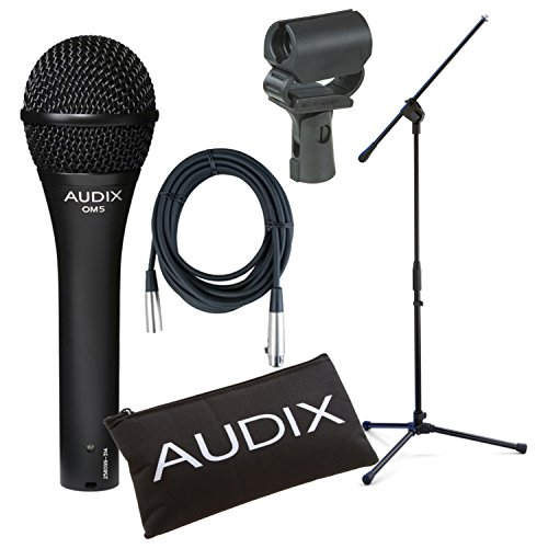 Audix OM5 Dynamic Hypercardioid Vocal Mic Bundle w/Free Cable and Boom Stand! by Audix