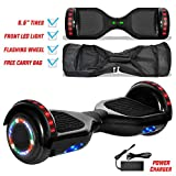 NHT Newest Edition Electric Hoverboard Self Balancing Scooter with Built-in Bluetooth Speaker LED Lights - Safety Certified - STD Black