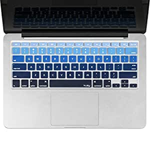 "Kuzy - BLUE Ombre Colors Keyboard Cover Silicone Skin for MacBook Pro 13"" 15"" 17"" (with or w/out Retina Display) iMac and MacBook Air 13"" - mix BLUE Ombre"