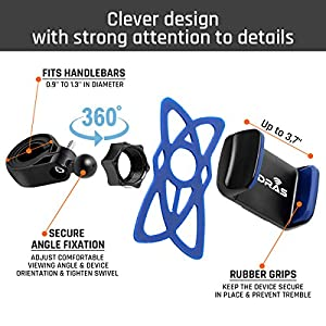 Widras New Bike Mount Improved Handlebar Clamp Upgraded Bicycle Phone Holder Universal Cradle for iPhone 4 5 6 7 8 Plus Galaxy S8 S7 S6 S5 S4 Edge LG Moto GPS 360 Degrees Rotatable Rubber Straps