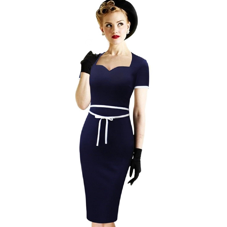 BOMOVO Damen Karree-Ausschnitt Sommerkleid 40er 50er Retro Vintage ...