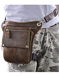 Leaokuu Mens Leather Messenger Shoulder Waist Pack Drop Leg Bag With Leg Strap