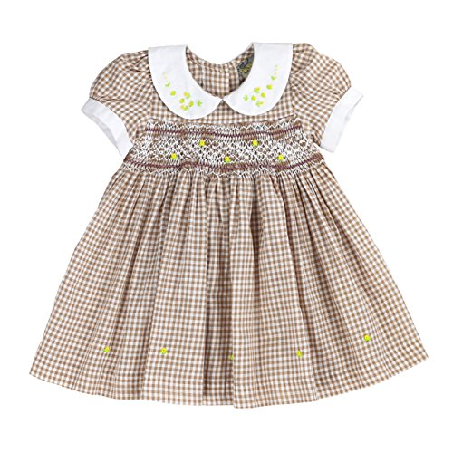 sissymini - Infant and Toddlers Soft Cotton Fabric Hand Smocked Dress | Barbara Bradbury's Earthy Plaid in Brown -